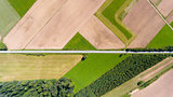 Farmland with road aerial drone top view