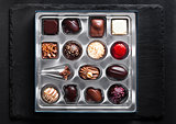 Luxury white and dark chocolate candies variety