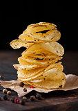 Crispy delicious pepper potato crisps chips snack
