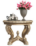 Classic baroque carved table with bouquet of roses and coffee silver set isolated on white background