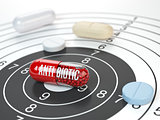 Pills on target and antibiotic in the center.  Scientific resear