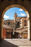 Albarracin, Aragon, Spain. Framed view of medieval city Albarrac