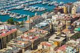 Aerial view of the port and coastline of Alicante, Spain