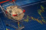 Bitcoin BTC coins in the shopping cart on the financial diagram.