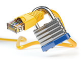 Network ethernet cable locked with padlock isolated on white bac