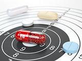 Pill with iron FE ferrum element in the center of target.Dietary