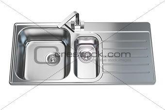 Kitchen sink isolated on white background.