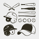 set of baseball equipment and gear. bat, helmet, cap, balls. vector illustration