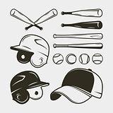 set of baseball equipment and gear. bat, helmet, cap, balls. vector illustration
