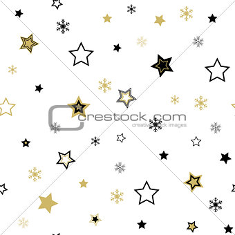 Abstract beauty Christmas and New Year gold star Seamless Pattern background. Illustration