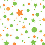 Star seamless pattern. Textile background with circles and stars. Circle seamless pattern.