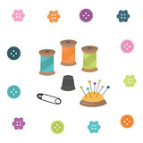 Sewing kit. Thread, thimble, needle, pin, button.