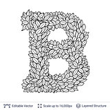 Letter B symbol of white leaves.