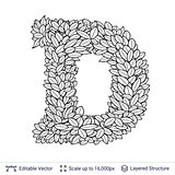 Letter D symbol of white leaves.