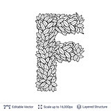 Letter F symbol of white leaves.