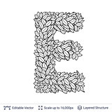 Letter E symbol of white leaves.