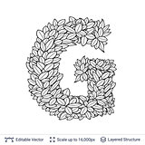 Letter G symbol of white leaves.