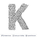 Letter K symbol of white leaves.