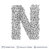 Letter N symbol of white leaves.