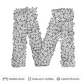 Letter M symbol of white leaves.