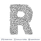 Letter R symbol of white leaves.