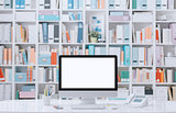 Professional contemporary workspace with computer