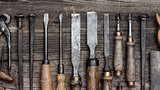 Collection of old woodworking tools