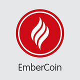 Embercoin Cryptocurrency - Vector Web Icon.