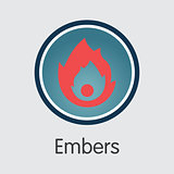 Embers Crypto Currency. Vector MBRS Pictogram Symbol.