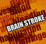 Modern medicine concept: Brain Stroke on the Yellow Brickwall .