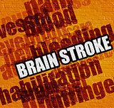 Modern medicine concept: Brain Stroke on the Yellow Brickwall .