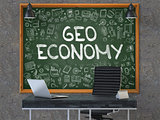 Geo Economy - Hand Drawn on Green Chalkboard. 3d