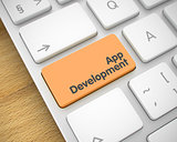 App Development - Message on the Orange Keyboard Key. 3D.