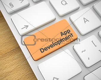 App Development - Message on the Orange Keyboard Key. 3D.