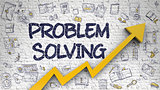 Problem Solving Drawn on White Brickwall. 3d
