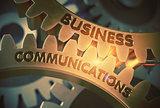 Business Communications on Golden Gears. 3D Illustration.