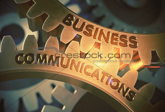 Business Communications on Golden Gears. 3D Illustration.