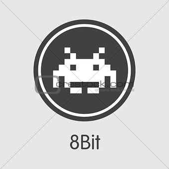 8bit - Digital Currency Coin Pictogram.