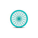 Bicycle wheel in cyan design with shadow