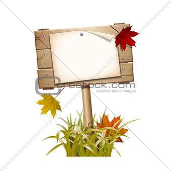 Autumn wooden sign