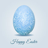Easter card with pale blue pastel Easter egg