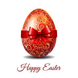 Easter card with red Easter egg tied of red ribbon
