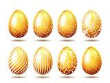 Set of Easter golden eggs