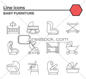Baby furniture line icons