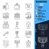 Banking icons set. Thin Line Vector Illustration.
