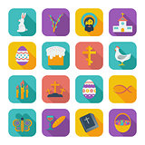 Color flat Easter Icons.