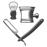 Shaving mug, brush and razor