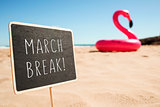 text march break in a signboard on the beach