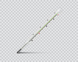Medical mercury thermometer on transparent background. Realistic temperature diagnostic measurement instrument. vector illustration