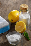 Natural cleaning tools lemon and sodium bicarbonate